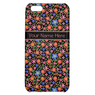Folk Art Style Floral, Black iPhone 5c Savvy Case iPhone 5C Cases
