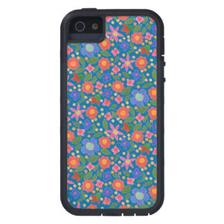 Folk Art Style Floral, Blue iPhone 5 Xtreme Case Case For The iPhone 5