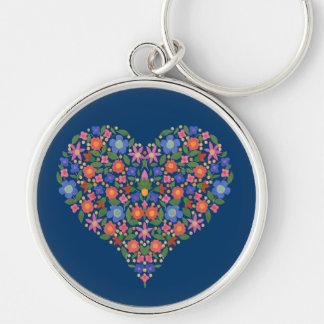Folk Art Style Floral Heart Blue Round Keychain