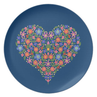 Folk Art Style Floral Heart on Blue Melamine Plate