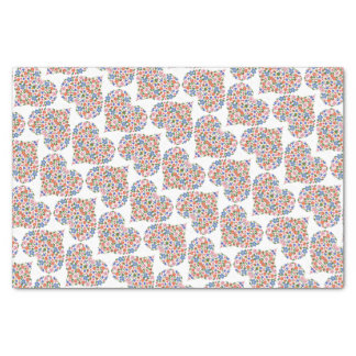 Folk Art Style Floral Hearts Tissue Paper