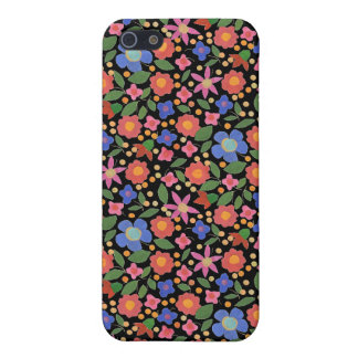 Folk Art Style Floral on Black iPhone 5/5s Case