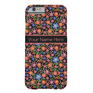 Folk Art Style Floral on Black iPhone 6 Case Barely There iPhone 6 Case