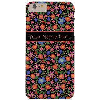 Folk Art Style Floral on Black iPhone 6 Plus Case