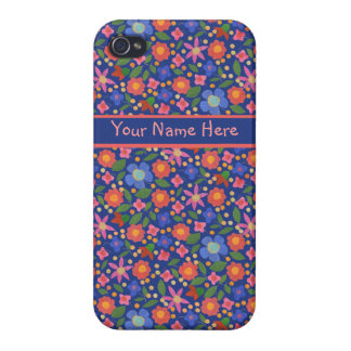 Folk Art Style Floral on Blue iPhone 4 Savvy Case iPhone 4 Cover