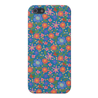 Folk Art Style Floral on Blue iPhone 5/5s Case