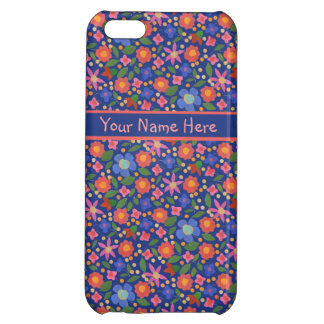 Folk Art Style Floral on Blue iPhone 5c Savvy Case iPhone 5C Cover