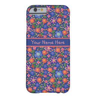 Folk Art Style Floral on Blue iPhone 6 Case Barely There iPhone 6 Case