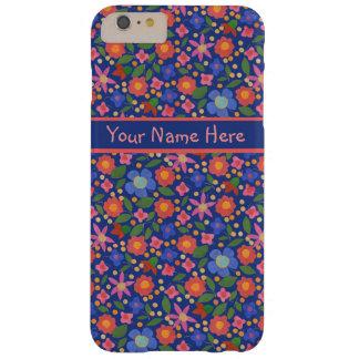 Folk Art Style Floral on Blue iPhone 6 Plus Case