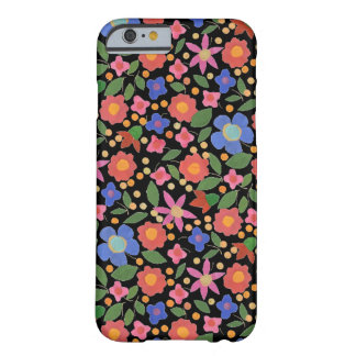 Folk Art Style Florals on Black iPhone 6 Case Barely There iPhone 6 Case