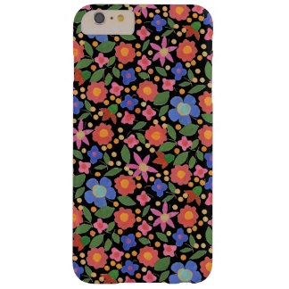 Folk Art Style Florals on Black iPhone 6 Plus Case