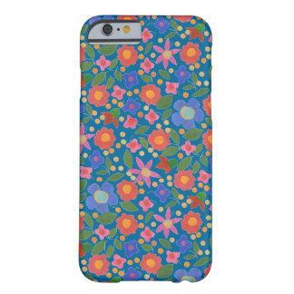 Folk Art Style Florals on Blue iPhone 6 Case Barely There iPhone 6 Case