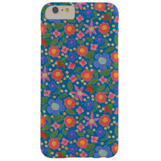 Folk Art Style Florals on Blue iPhone 6 Plus Case