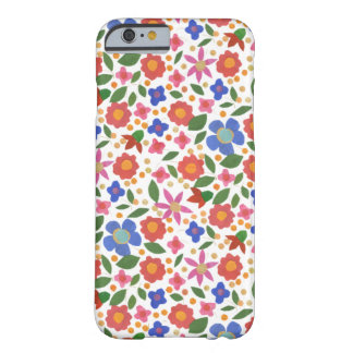 Folk Art Style Florals on White iPhone 6 Case Barely There iPhone 6 Case