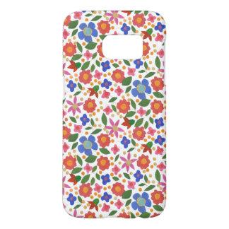 Folk Art Style Multi-coloured Floral on White