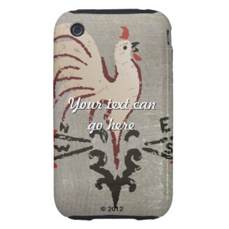 Folk Art Style Rooster Tough iPhone 3 Cases