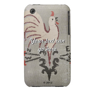Folk Art Style Rooster iPhone 3 Case-Mate Cases