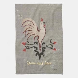 Folk Art Style Rooster Tea Towel