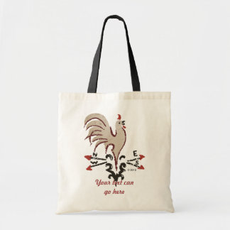 Folk Art Style Rooster Budget Tote Bag
