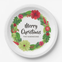 Folk Art Watercolor Floral Christmas Paper Plate