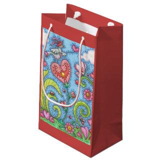 Folk Bird And Hearts VALENTINE GIFT BAG Customize