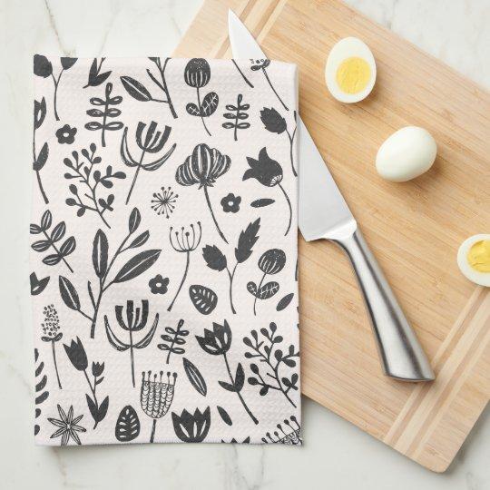 Folk Botanical Print Tea Towel