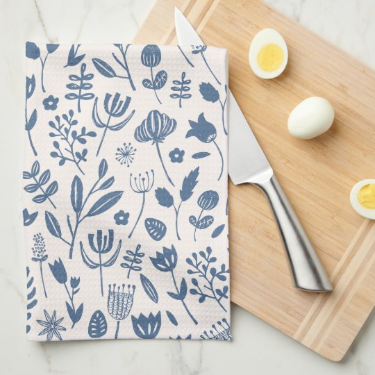 Folk Botanical Print Tea Towel