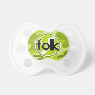 Folk bright green camo camouflage pacifiers