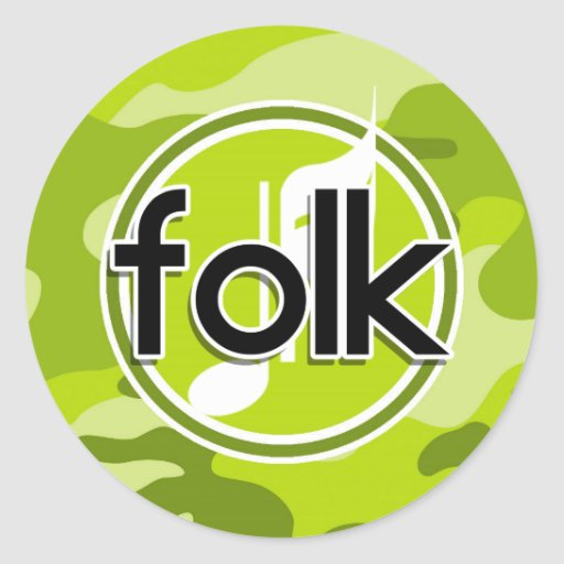 Folk; bright green camo, camouflage round stickers