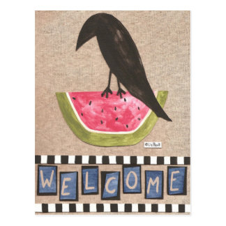 Folk Crow on Watermelon Postcards