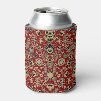 Folk Embroidery Yellow, Green, Black on Deep Red Can Cooler