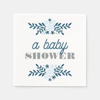 Folk Floral Blue Gray Baby Shower Decor Disposable Napkins