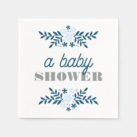 Folk Floral Blue Grey Baby Shower Decor Disposable