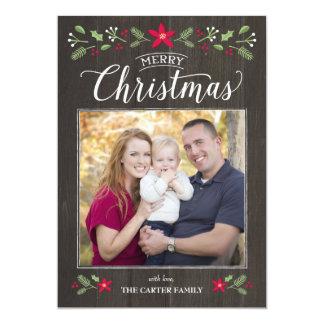 Folk Floral Christmas Photo Card 13 Cm X 18 Cm Invitation Card
