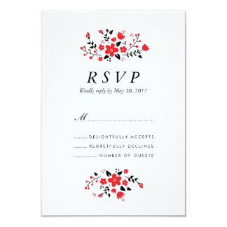 Folk Floral Stylish Wedding RSVP Card Red