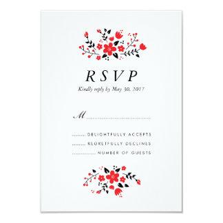 Folk Floral Stylish Wedding RSVP Card Red 9 Cm X 13 Cm Invitation Card