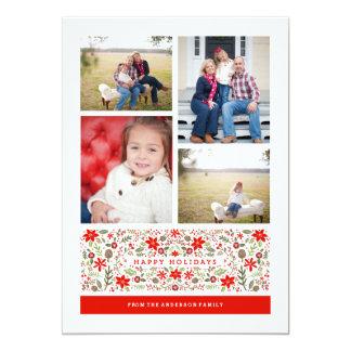 Folk Flowers   Holiday Photo Card 13 Cm X 18 Cm Invitation Card
