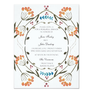 Folk Flowers Invitation with blue detail