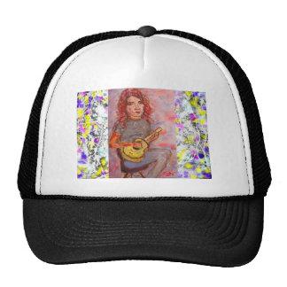 folk girl with ukulele drip mesh hats