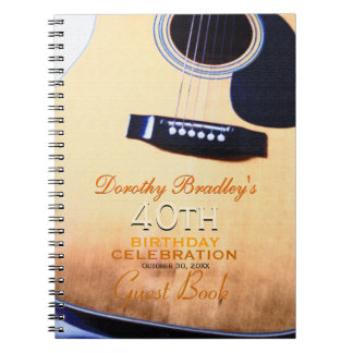 Folk Guitar 40th Birthday Personalized Guest Book Note Book