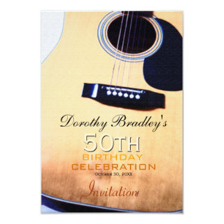 Folk Guitar 50th Birthday Celebration Invitation