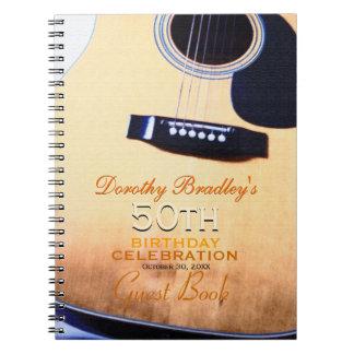 Folk Guitar 50th Birthday Personalized Guest Book