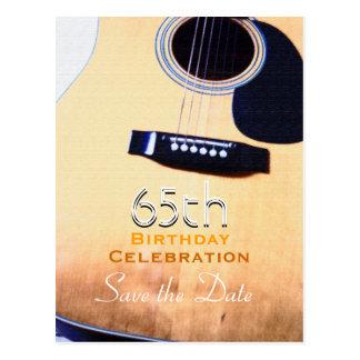Folk Guitar 65th Birthday Save the Date Postcard
