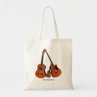 Folk Guitar Acoustic Bass and Ukulele Budget Tote Bag