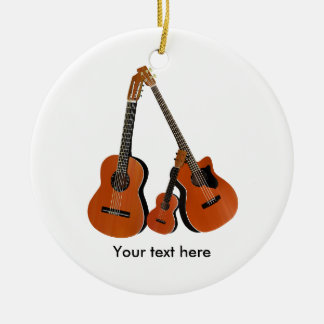 Folk Guitar Acoustic Bass and Ukulele Christmas Ornament