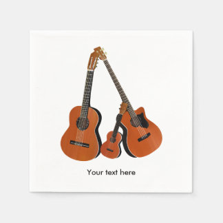 Folk Guitar Acoustic Bass and Ukulele Paper Napkins