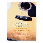 Folk Guitar Custom Save the Date 40th Birthday Postcard