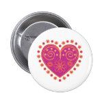 Folk love button in pink
