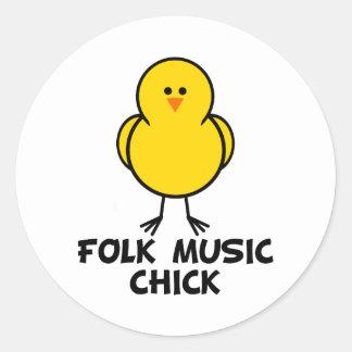 Folk Music Chick Sticker