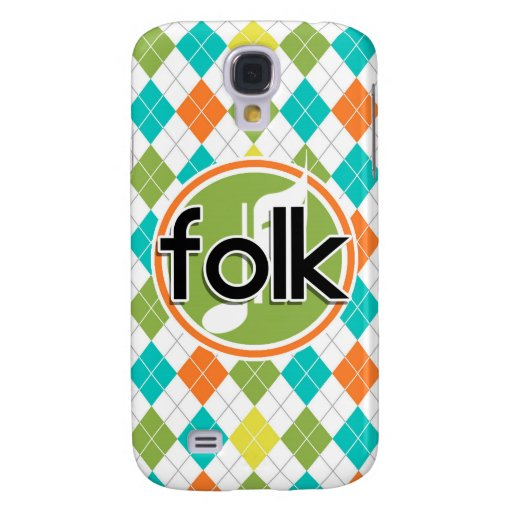 Folk Music; Colorful Argyle Pattern Galaxy S4 Cover